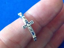 Crucifix Rosary Ring Ring Bright Silver Tone Metal 1 Decade Prayer Ring Size 5