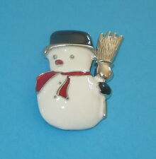 Hat Red Scarf New Winter Snowmen Snowman Pin Broom Silver Tone Top