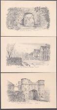 Sussex WINCHELSEA x3 c1930/40s? pencil drawn artist FJ (FRED JUDGE?) Judges PPCs