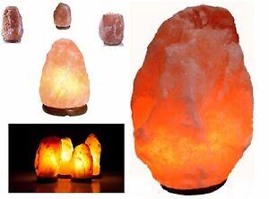 Natural Himalayan Rock Salt Lamp On Wooden Base. (Plug & Bulb Included)