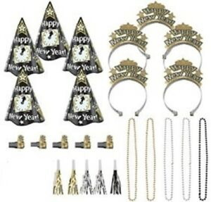 New Years Night Party New Years Eve 25 Pc Black Silver Gold Kit For 10 Hats Tiar