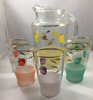 Vintage Frosted WV Blendo Juice Pitcher 5 Glasses Gold accent Mid Century