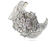 Lady Metal Flower Crystal Rhinestone Braid Bracelet Bangle Cuff Jewelry