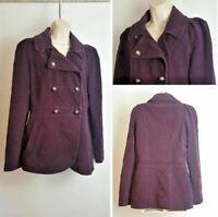 Phase Eight Purple Soft Velvet Military Double Breasted Jacket size 12 Coat