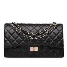 (HK) Lambskin Handbag Quilted Sheepskin Leather GoldStrap Double Flap Bag black
