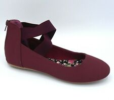 ae35427be48 New Women Crisscross Elastic Ankle Strap Flat Shoes Burgundy Size 8.5