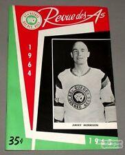 1964-65 AHL Quebec Aces Program Jimmy Morrisson Cover
