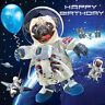 Funny Spaceman Pug 3D Holographic Luxury Birthday Greeting Card Dog Lovers