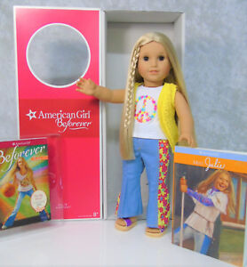 "American Girl DOLL 18"" JULIE BEFOREVER IN MEET OUTFIT Blonde Brown Eyes Book BOX"
