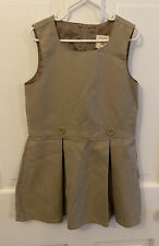 Lands' End Girl Solid Sleeveless Jumper School Uniform Khaki Pleate Size 6 Euc