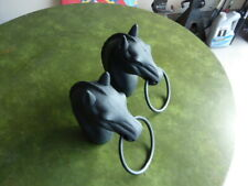 Vintage Cast Iron Horse Head Hitching Post - Pair