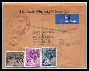 GP GOLDPATH: SEYCHELLES COVER 1959 AIR MAIL REGISTERED LETTER _CV699_P17