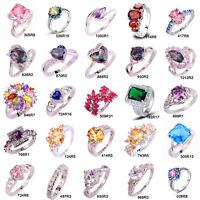 Fashion Wedding Banquet Multicolor Rainbow Topaz Gemstone Unisx Silver Ring Gift