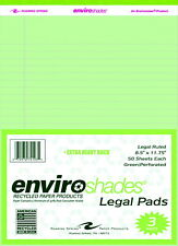 Enviroshades Legal Pads 8 12 X 11 34 Inches Green 50 Sheets Pack Of 3