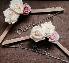 Set Of 6 Personalised Wooden Wedding Dress Hanger,Any Colour, Bride, Bridesmaid❤