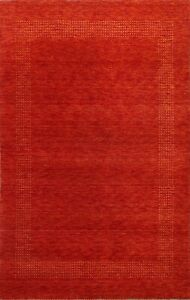 Contemporary Bordered Gabbeh Oriental Area Rug Hand-Knotted Wool Carpet 5x6 New