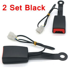 2 Set 7/8'' Car Safety Seat Belt Buckle Connector Plug Kit W/Warning Cable Black