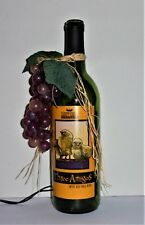 """THREE AMIGOS"" LIGHTED WINE BOTTLE w/GRAPES NightLight HOME DECOR VineyardWinery"