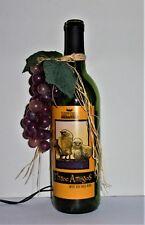 """Three Amigos"" Lighted Wine Bottle w/Grapes NightLight Home Decor VineyardWinery"