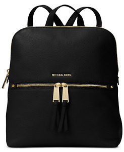 Michael Kors Rhea Medium Slim Black Pebble Leather Backpack SEALED PACKAGE