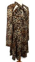 Myleene Klass Size 12 Long Sleeve Leopard Print Floaty Flippy Dress Party