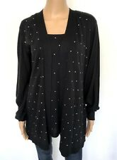 NEW! JM COLLECTION Plus Size 3X Black Women's Cardigan Sweater Embellished Knit
