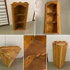 Shabby Chic Vintage Pine Wall Corner Cupboard Display 3 Shelves Rustic Country 1