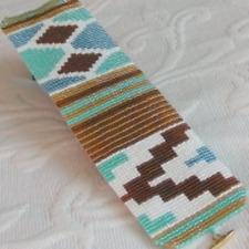 1 Drop Even Count Peyote Bead Pattern - Ethnic #2 Mint Cuff Bracelet