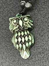 """Owl Tribal Painted Turquoise Yak Bone Necklace Mens Womens Rope 16"""" A"""