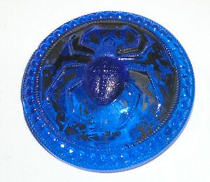 Antique Vintage Brass Shank Cobalt Blue Glass Large Widow Spider Web Button