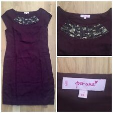 M&S Size 14 Per Una Burgundy Plum Jacquard Dress Beaded Detail Valentines V-day