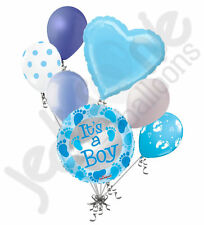 7 pc Baby Boy Foot Print Balloon Bouquet Decoration Welcome Home Blue Feet Toes