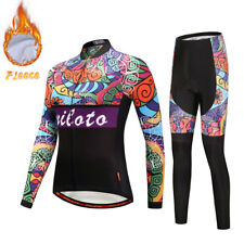 Women's Fleece Cycling Clothes Thermal Winter Bicycle Jersey Shirt and Pants Set