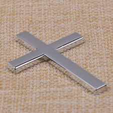 3D Metal Silver Jesus Christian Cross Side Emblem Adhesive Decal Badge Sticker