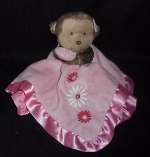 CARTER'S BABY PINK MONKEY SECURITY BLANKET RATTLE STUFFED ANIMAL PLUSH TOY LOVEY