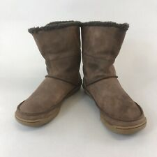 Clarks Size 39 UK6 Brown Nubuck Leather Ankle Pull On Fur Lined Booties Boots