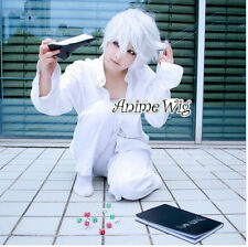 New DEATH NOTE White Anime Short Layered Hair Cosplay Full Wig Free Shipping+Cap
