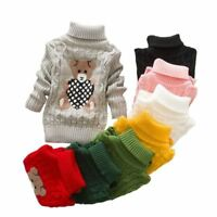 Boys Girls autumn winter Infant Baby Children Kids Knitted bear Pullovers Turtle