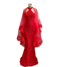 Charming Red Mermaid Evening Dress Celebrity Party Prom Pageant Wedding Gown New