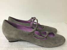 """JEFFREY CAMPBELL """"Mali"""" buckle women's shoes, round toe, suede gray  size 9.5M"""