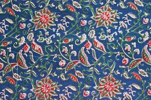 Teal Blue 100%Cotton Indian Ikat Hand Block Print Dress Material Craft Fabric