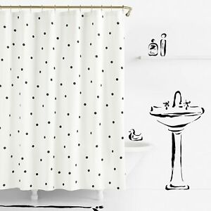 Kate Spade Deco Dot Shower Curtain White Black Polka Dot Shabby Chic Retro Decor