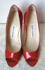 "Manolo Blahnik – New Sexy Peep Toe Pump 4"" Heels Red Patent 38 (=US 7)"