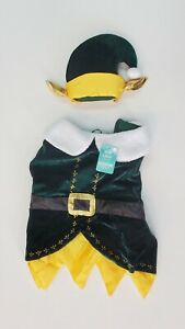 elf dog costume for XXL size dog green gold hat elf ears 2 piece christmas