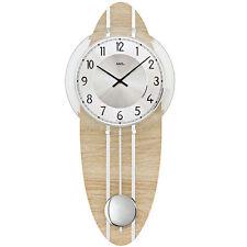 AMS Quarz Wall Clock with pendulum clock Sonoma Look Mineral Glass New