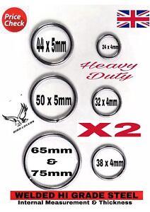 X2 HEAVY DUTY WELDED STEEL METAL CRAFT O RINGS 18 24 32 38 44 50 65-90MM BARGAI
