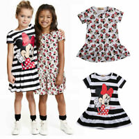 Toddler Baby Girls Dress Cartoon Summer Minnie Mouse Striped Short Sleeve Casual
