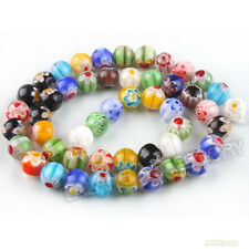 1Strand Mixed Multicolor Millefiori Flower Lampwork Glass Loose Beads 8mm FW
