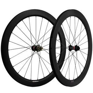 700C Road Disc Brake Carbon Wheelset Bike Clincher/Tubular/Tubeless 55mm wheels