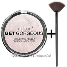 Technic Get Gorgeous Highlighting Powder 12g +LARGE Fan Makeup Brush NEW UK BASE